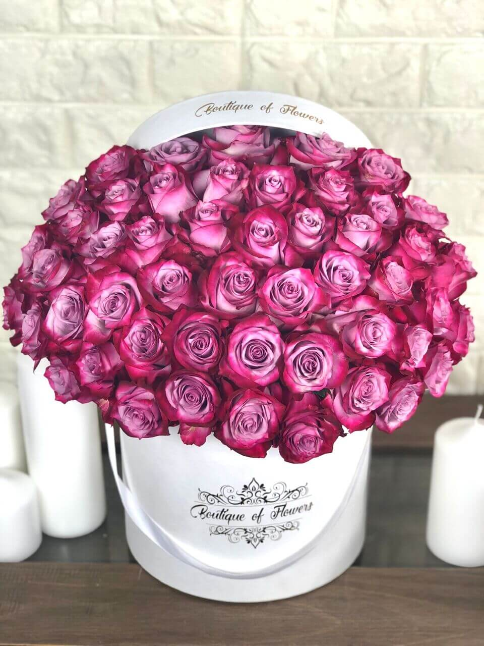 50 purple rose round box